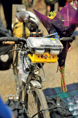 Front light & bettery pack, James Bowthorpe, around-the-world bike, 2010