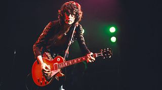 Jimmy Page performs with Led Zeppelin at Madison Square Garden, New York City on 29th July 1973