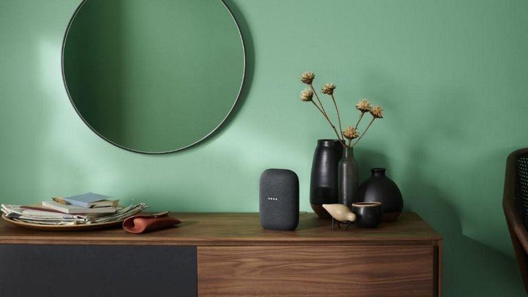 best smart speaker: Google Nest Audio on sidetable