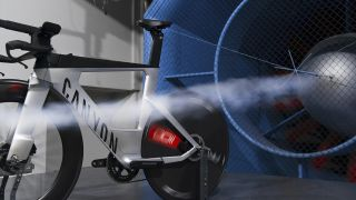DT Swiss Arc 1100 Dicut Disc on a Canyon Speedmax in the wind tunnel