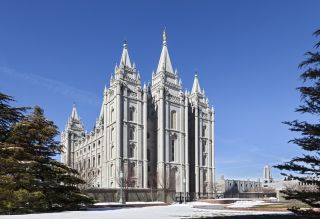 The Salt Lake Temple in Utah for The Church of Jesus Christ of Latter-day Saints.