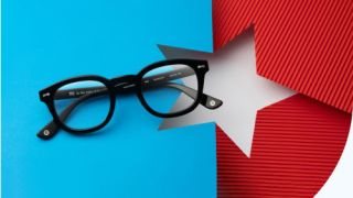The GlassesUSA 4th July sale image showing a white star on a blue and red background