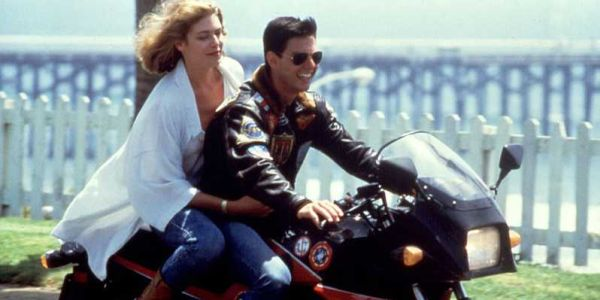 Tom Cruise and Kelly McGillis on a motorcycle in Top Gun