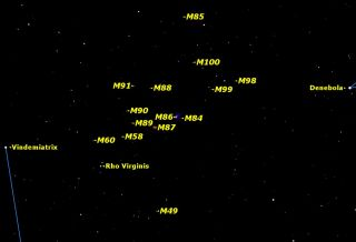 Map of Galaxies in the Spring Night Sky