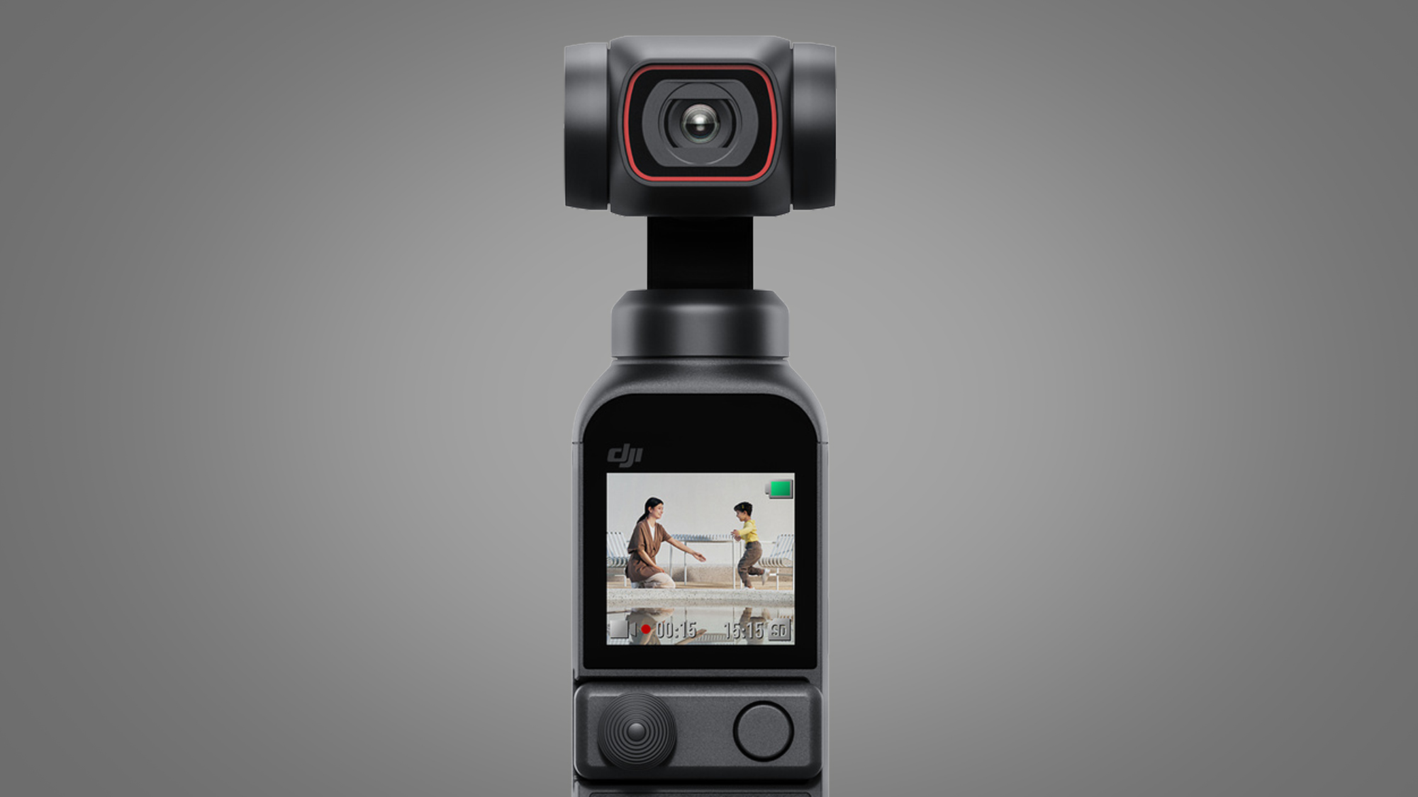 The front of the DJI Pocket 2 with its screen turned on