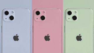 Three different coloured iPhones.