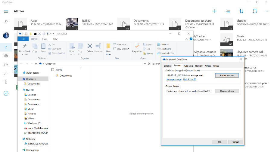OneDrive not integrated