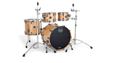 Shells are made from plies of American Rock Maple and walnut, each drum topped with Natural Burl Maple veneer