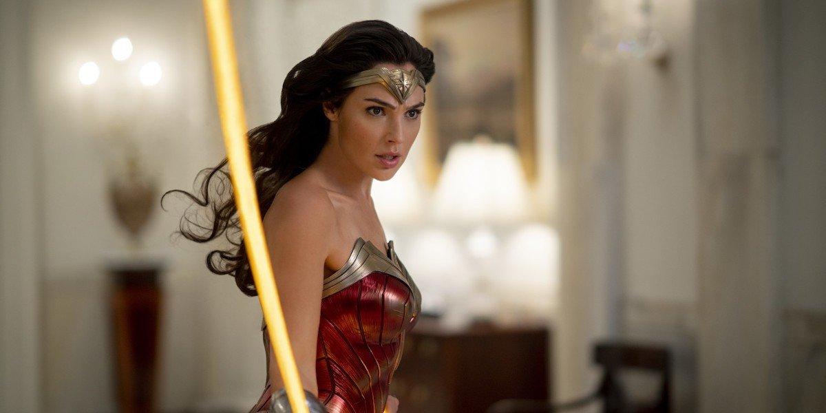 Gal Gadot swinging golden lasso as Wonder Woman