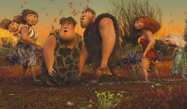 The Croods family looks over at something ambiguously