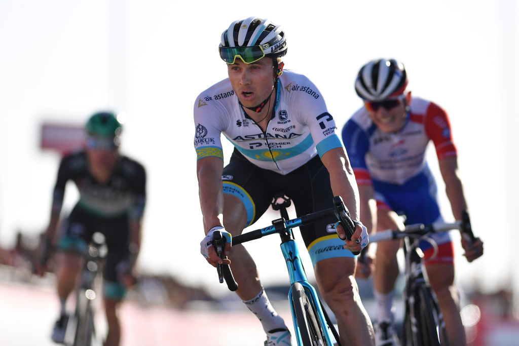 Kazakh road race champion Alexey Lutsenko (Astana) finishes third on stage 3 of the 2020 UAE Tour at Jebel Hafeet