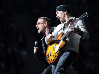 Bono and The Edge onstage on U2's current 360° Tour