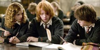 Emma Watson, Rupert Grint and Daniel Radcliffe as Hermoine, Ron and Harry in Harry Potter and the Goblet of Fire