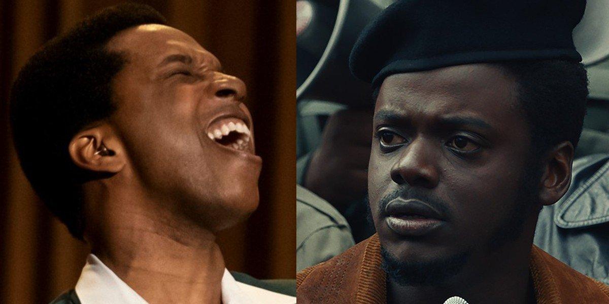 Leslie Odom Jr. as Sam Cooke in One Night in Miami opposite Daniel Kaluuya as Fred Hampton in Judas and the Black Messiah