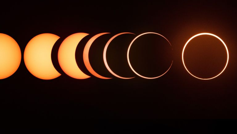 The entire sequence of the 2019 annular solar eclipse from start to finish. This sequence shows the beginning of the eclipse and continues all the way until the ring of fire is formed.
