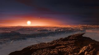 An artist's depiction of what the surface of Proxima b might be like,