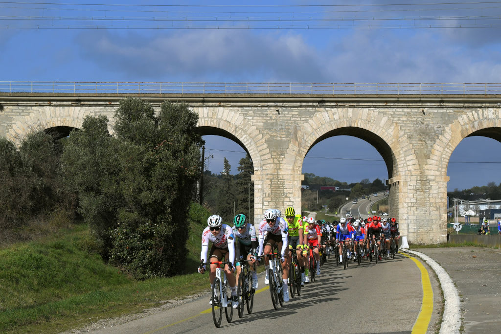 BELLEGARDE FRANCE FEBRUARY 03 Alexis Gougeard of France and AG2R Citroen Team during the 51st toile de Bessges Tour du Gard 2021 Stage 1 a 14355km stage from Bellegarde to Bellegarde 57m Peloton Landscape Bridge EDB2020 on February 03 2021 in Bellegarde France Photo by Luc ClaessenGetty Images