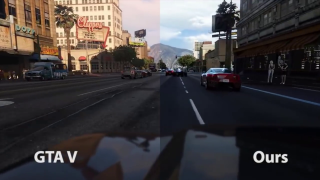 GTA 5 comparison image with standard game on left and AI photorealism filter on right