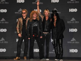 Rock And Roll Hall Of Fame inductees for Guns N' Roses (from left) Matt Sorum, Steven Adler, Duff McKagan and Slash in Cleveland, Ohio, 14 April