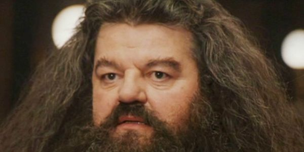 Robbie Coltrane as Hagrid looking concerned