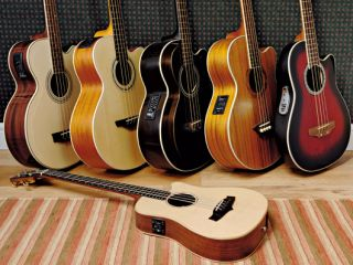 Front: Tanglewood TW15 Baby Bass CE; back from L-R: Garrison AG/AB, Takamine EG512C, Vintage VCB 430, Dean Performer Dao, Ovation Celebrity CC074