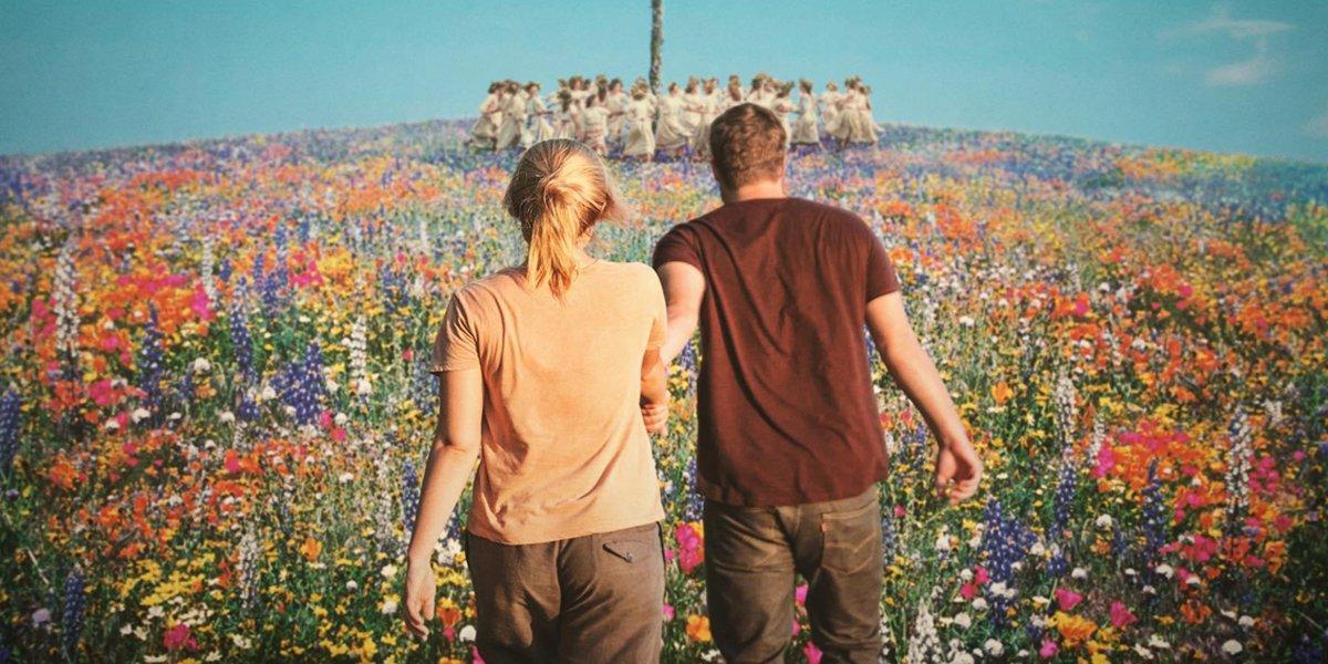 Midsommar walking in colorful field