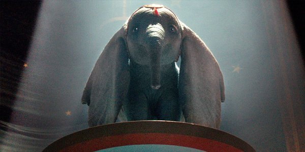 Dumbo on a platform ready to fly in Dumbo 2019