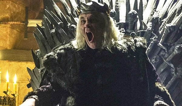 The Mad King Aerys on the Iron Throne in Game Of Thrones on HBO