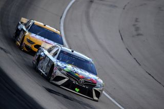 Kyle Busch leads Clint Bowyer during the NASCAR Cup Series AutotraderEchoPark Automotive 500 at Texas Motor Speedway on Oct. 28, 2020 in Fort Worth, Texas.