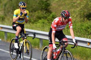 Primoz Roglic (Jumbo-Visma) and Tadej Pogačar (UAE Team Emirates) during stage 4 of Itzulia Basque Country