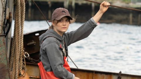 Emilia Jones on a fishing boat
