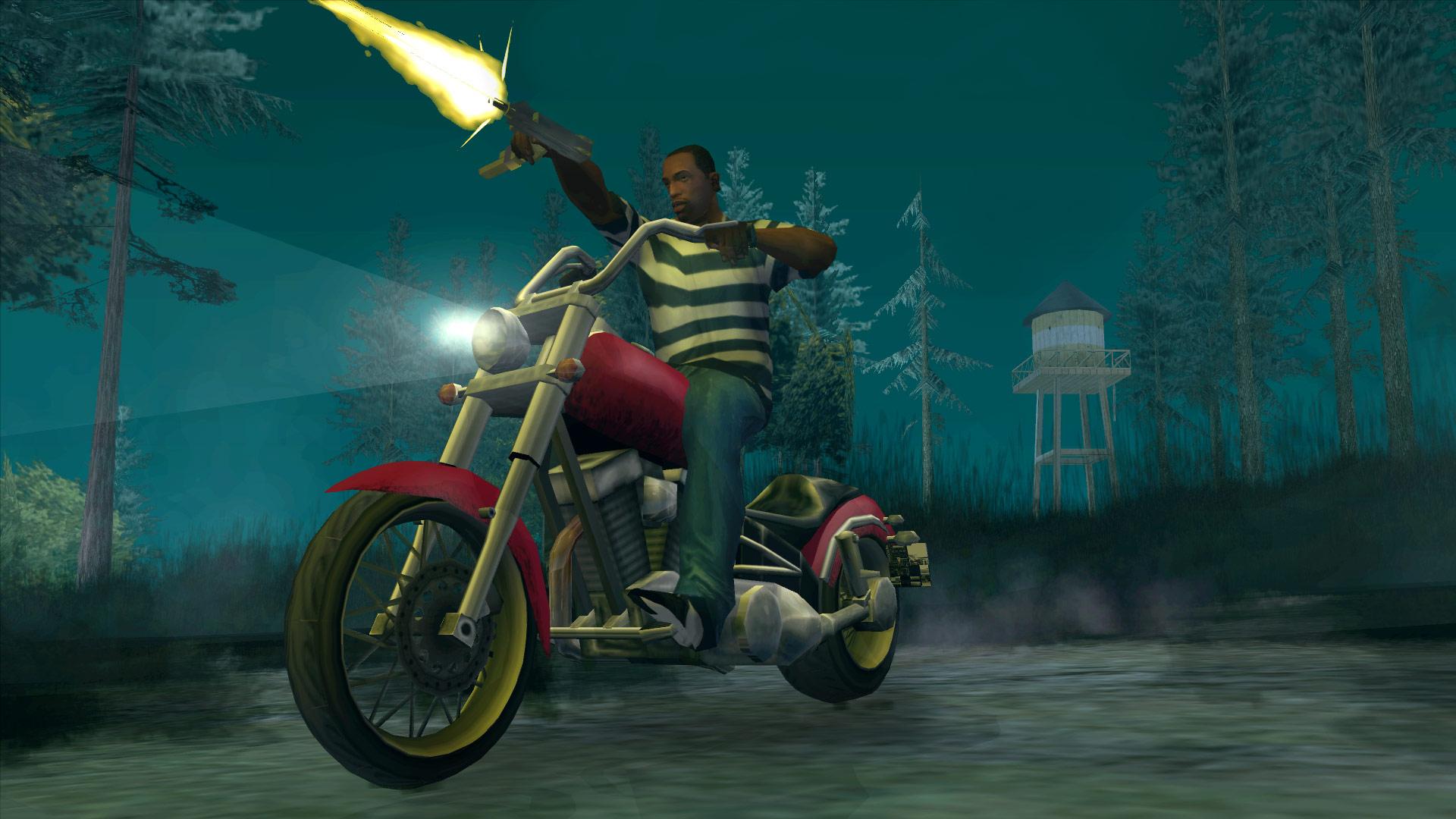 CJ firing a gun while riding a motorcycle