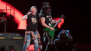 Axl Rose and Slash performing live with Guns N' Roses