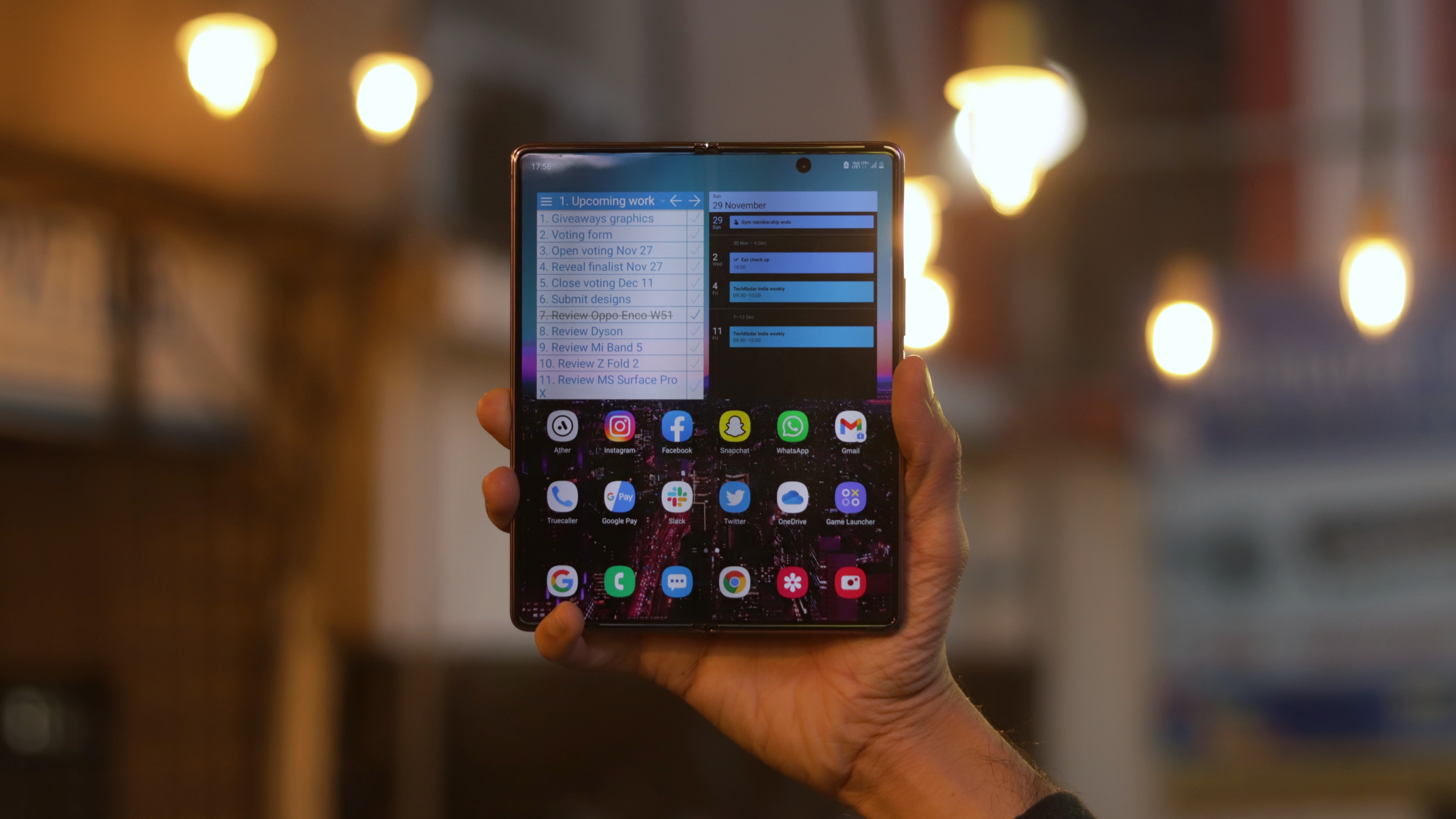 A Samsung Galaxy Z Fold 2 unfolded in someone's hand