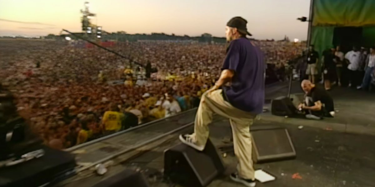 Fred Durst of Limp Bizkit on stage at Woodstock '99