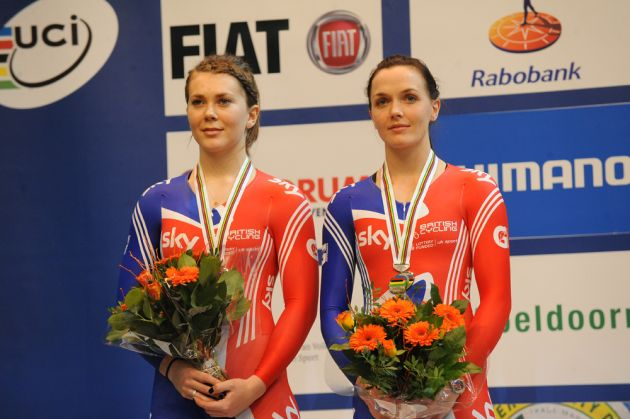 Jess Varnish Victoria Pendleton womens team sprint silver medal 2011 world track championships.jpg