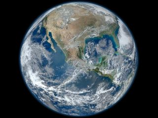 blue marble of earth's western hemisphere
