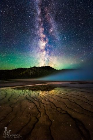 Milky Way from Grand Prismatic Springs in Yellowstone National Park