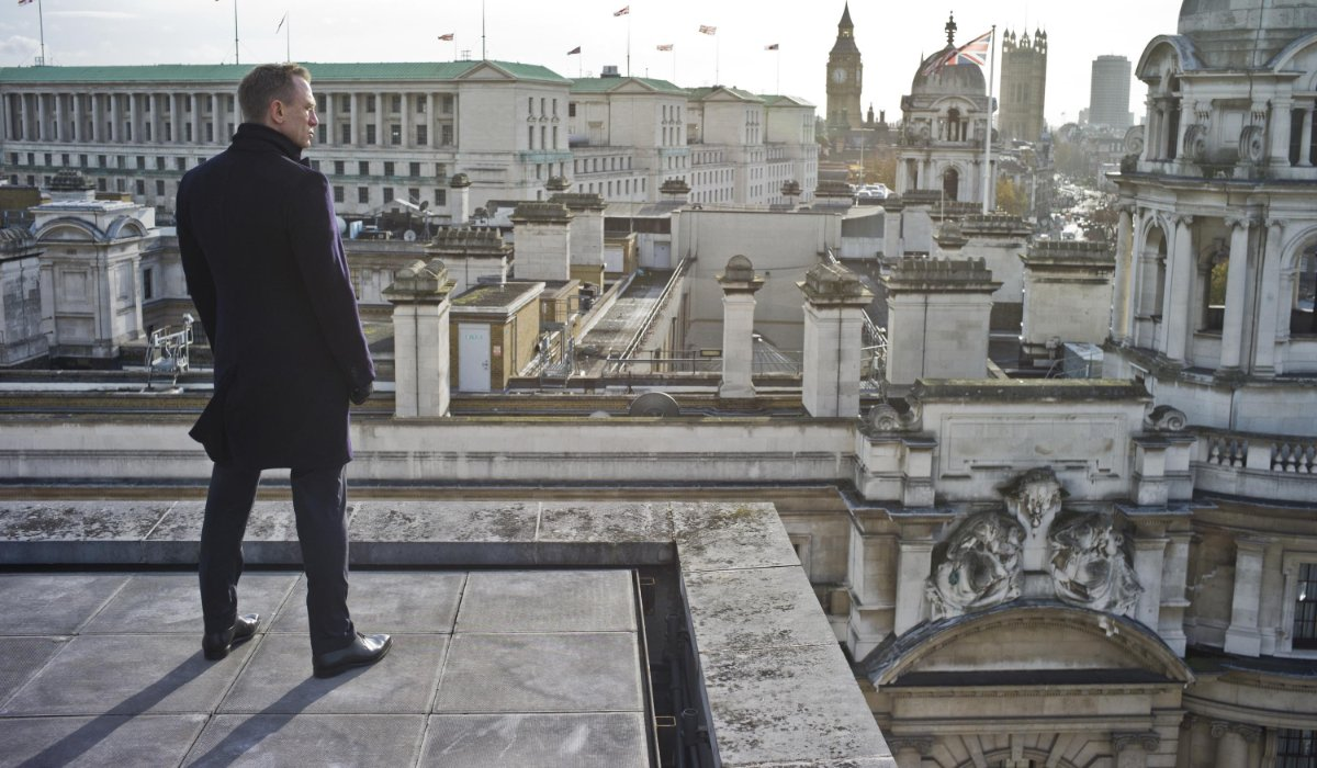 Skyfall Bond stands alone on the rooftop
