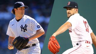 Composite image of Gerrit Cole of the New York Yankees and Nathan Eovaldi of the Boston Red Sox