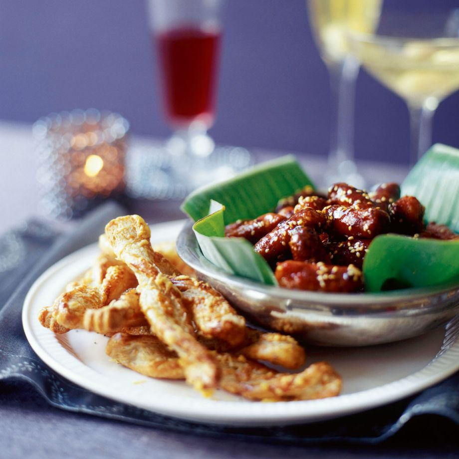 Cheese Straws and Maple, Sesame and Mustard Sausages Recipe
