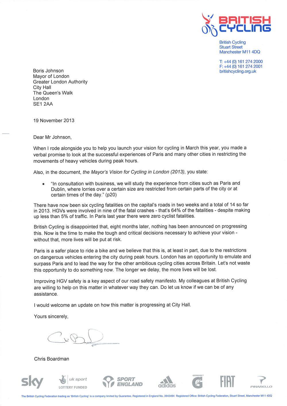 Chris Boardman appeals to Boris Johnson to improve HGV ...