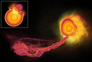 A 3D simulation showing the impact (inset) and aftermath (main picture) of a giant planetary collision.