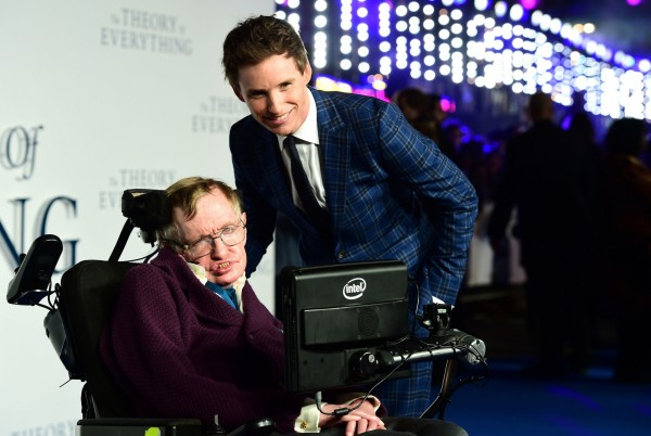 Professor Stephen Hawking and Eddie Redmayne at the premiere of The Theory of Everything, based on Hawking's life