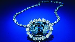 A photograph shows the Hope diamond, taken from India in the 1600s. New evidence suggests this diamond originated hundreds of miles below Earth's crust.