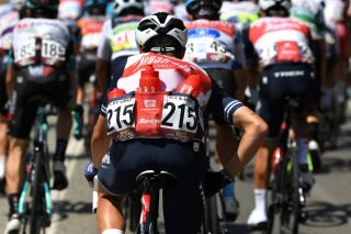 Trek-Segafredo rider brining water bottles to his teammates on stage 12 at the Vuelta a Espana
