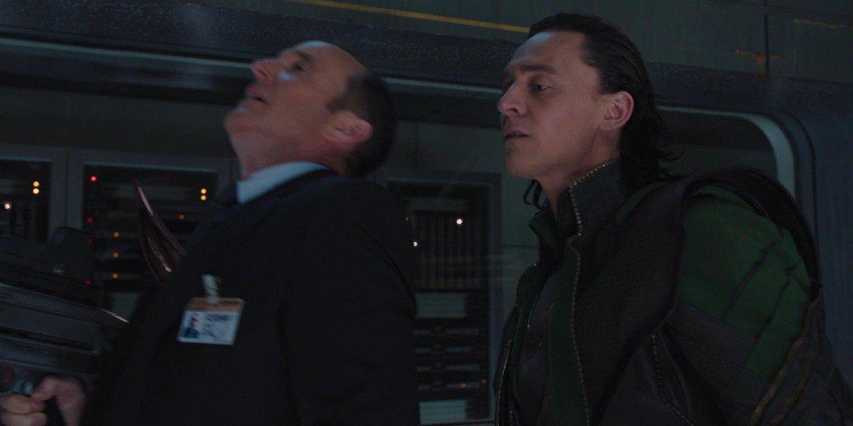 Loki (Tom Hiddleston) kills Phil Coulson (Clark Gregg) in The Avengers (2012)