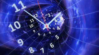an abstract view of a wormhole with a clock overlaid