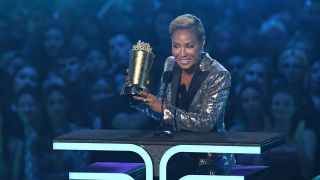 Jada Pinkett Smith accepts the Trailblazer Award onstage during the 2019 MTV Movie & TV Awards at the Barker Hangar in Santa Monica on June 15, 2019.