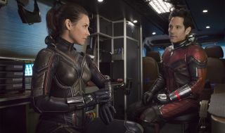 Scott Lang and Hope Van Dyne in full costume during Ant-Man and the Wasp
